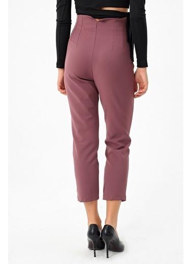 Jument Kadın Yüksek Bel Rahat Kesim Şık Ofis Pantolon-Zümrüt Kırmızı